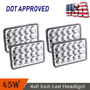 4X-LED-Sealed-Headlights-For-Freightliner-FLD120-FLD112-4-039-039-x6-039-039-Light-Hi-Lo-Beam
