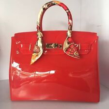 Bright Red ! Women  Metal Buckle Candy Color PVC Jelly Handbag Plastic Tote Bag