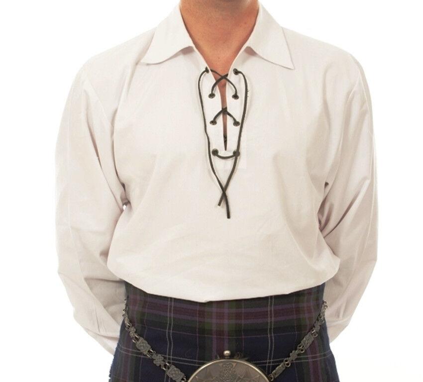 Deluxe Scottish Ghillie Jacobean Style Laced White Kilt Shirt Medium 40