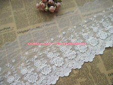 BF129 34cm,1yard Delicate white embroidered flower tulle lace trim Sewing DIY