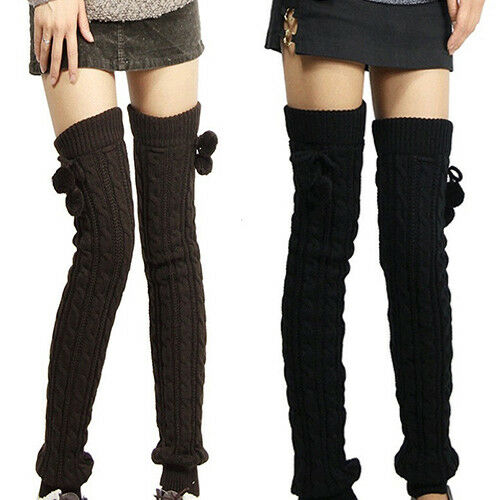 AU_ Women Winter Crochet Knitted Stocking Footless Leg Warmers Thigh High Socks Clothing, Shoes & Accessories