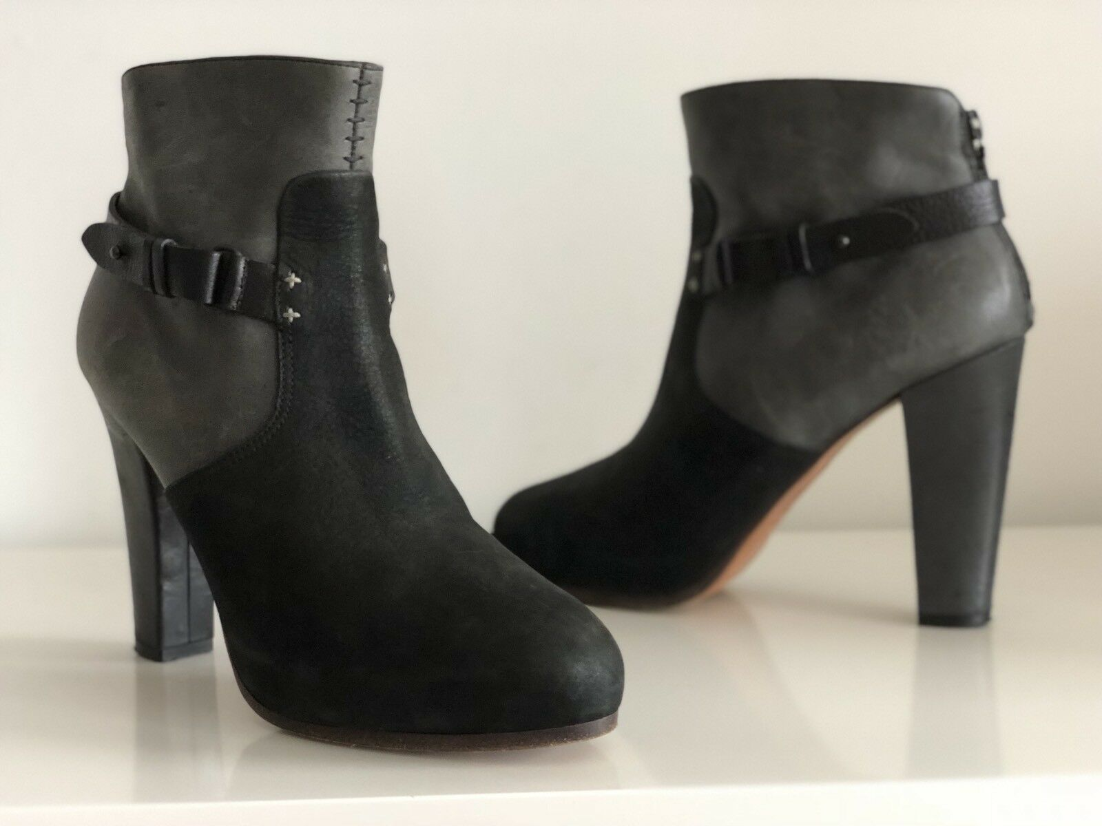 RAG BONE BLACK AND GREY LEATHER ANKLE BOOTS, SIZE 40