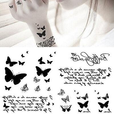 Black Butterfly & Letter Transfer Waterproof Temporary Tattoo Body Art Sticker