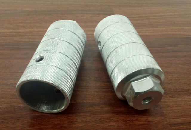 "EVO JUMBO SHAFT 50mm CHROME THREADED 3//8/"" AXLE BICYCLE PEGS--ONE PAIR"
