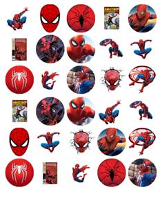30 Spiderman décorations comestible stand up plaquette Carte Gâteau Gaufrettes Cupcake Toppers