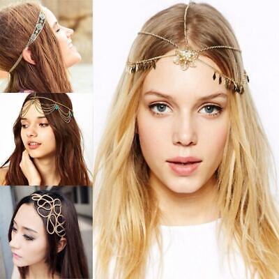 Women Girls Head Chain Jewelry Metal Rhinestone Headband Hair Band Head Piece