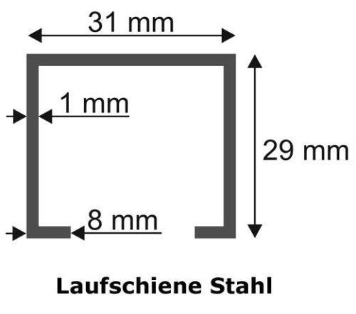 2 x Laufschiene 3m 2 x Schiebetürbeschlag 55kg Schiene Set