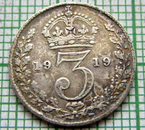 GREAT-BRITAIN-GEORGE-V-1919-THREEPENCE-3-PENCE-SILVER