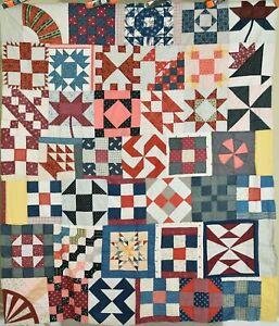 AMAZING Vintage 1880's Sampler Antique Patchwork Quilt Top ~DAZZLING DESIGN!