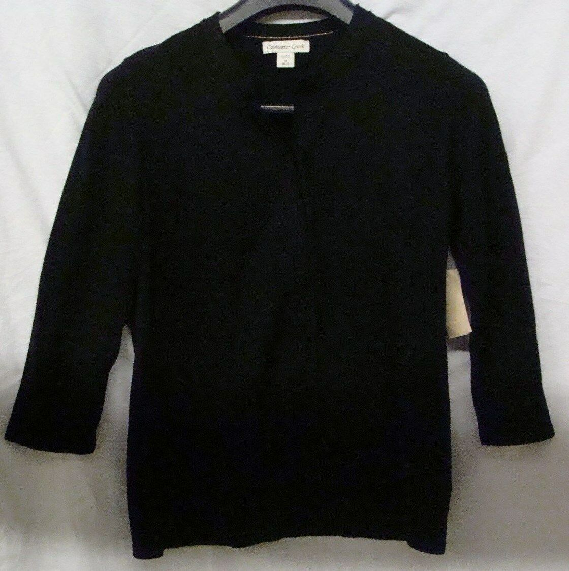 Coldwater Creek Woherren schwarz Silk Trim Cardigan  S, M