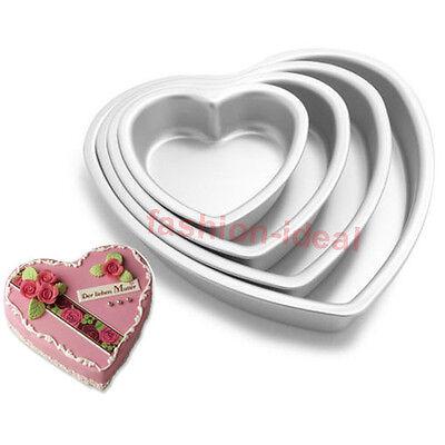"""3"""" 4"""" 5"""" 3D Heart Aluminum Cake Chocolate Pan Baking Tin Wedding Party Mold #T"""