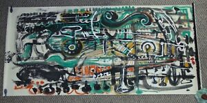 ANDREW-TURNER-6-039-Green-Modern-Musical-Abstract-Painting-Africa-American-Signed