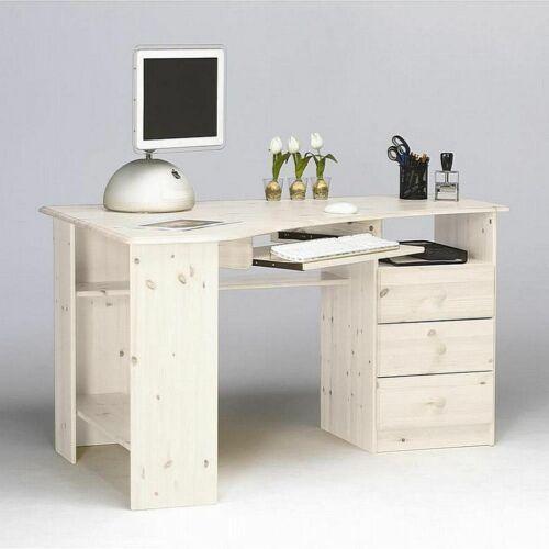 Massivholz Eck-schreibtisch Kiefer massiv weiß Büro Computertisch Holz PC-Tisch