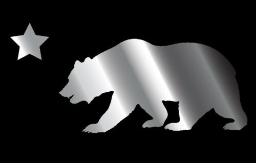 This is a chrome California bear flag decal or sticker Great for Car or laptop!