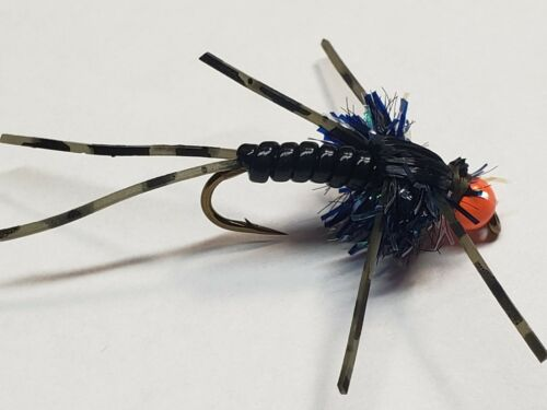 per 12 Details about  /Egg Head Stonefly Nymphs BLACK with assorted bead colors Size 8