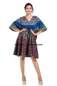 Blue Mandala Cotton Women Casual Maxi Dress Beach Wear Boho Indian ... 870cb0267