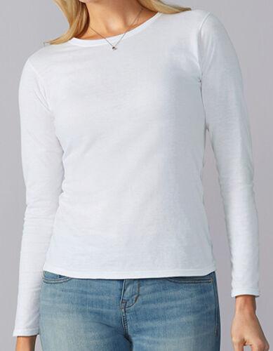 Damen Softstyle® Langarmshirt Rundhals Jersey S-XXL 8 Farben Baumwolle G64400L