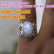Women's Boho Natural Gemstone Sterling 925 Silver Rainbow Moonstone Ring