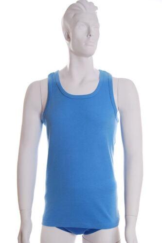 3 PACK PLAIN UOMO 100/% cotone canottiera senza maniche Gilet-Misto Blu Bianco S-5XL