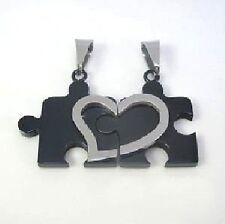 Collana per coppia Amicizia 2 Ciondolo Puzzle nero argento Cuore Acciaio Inox +2
