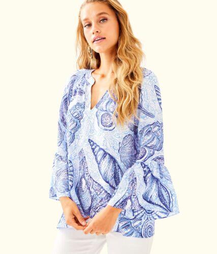$158 NEW Lilly Pulitzer MATILDA Elsa SILK TOP Blue Peri Stuffed Shells S L XL