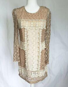 Anthropologie-Champagne-amp-Strawberry-Beige-Lace-Dress-Medium