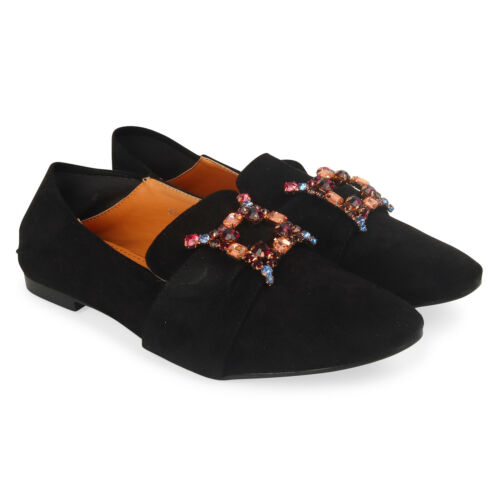 Women/'s Suede Loafers with Diamante details