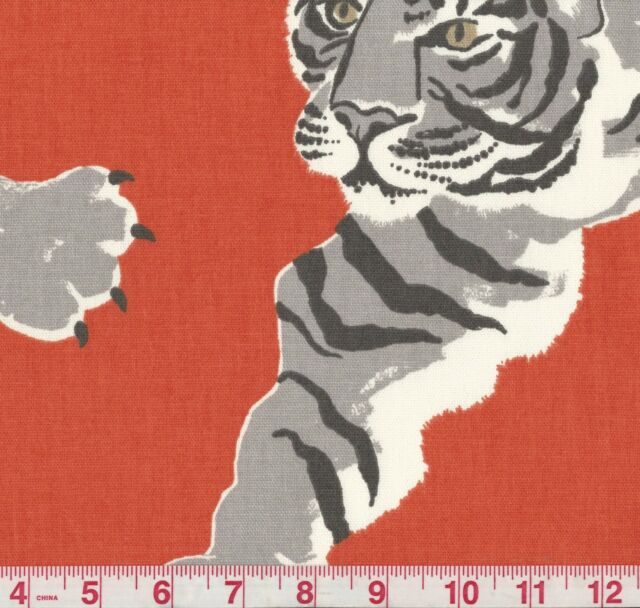 P Kaufmann Le Tigre Pimento Red Jungle Cat Print Upholstery Fabric BTY