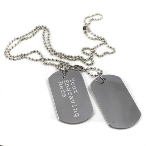 Personalisiert Graviert Hundemarken Text Stahl Armee Militär Halskette Etikett
