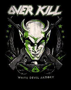 OVERKILL-cd-lgo-WHITE-DEVIL-ARMORY-Official-Dickies-WORK-SHIRT-MED-New-OOP