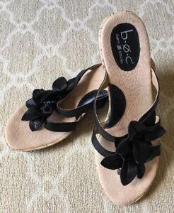 ff2014b4b1 Born BOC Women's Black Leather Flower Slip On Wedge Sandals Shoes-Sz ...