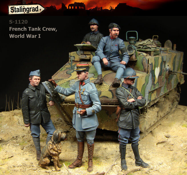 STALINGRAD 1 35, FRENCH TANK CREW BIG SET (5 FIGURES), WWI, S-1120