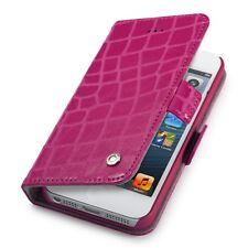 GGMM Etui folio à rabat latéral cuir croco fushia pour iPhone 5s