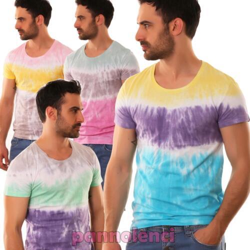 T-shirt uomo maglia maglietta cotone stampa sfumature nuova JX5608