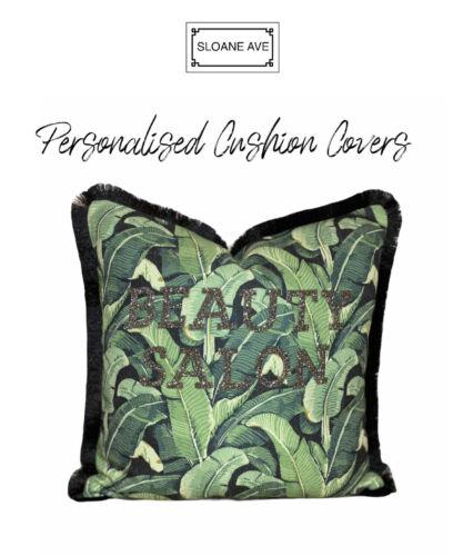 Personnalisé Coussin oreiller monogramme Frange Tropical Leaf PAILLETTES DIAMANTS