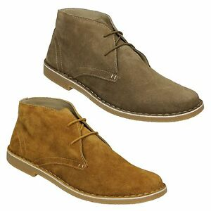 LAMBRETTA MENS DESERT Boots Leather Ankle Carnaby 3 Eye Lace