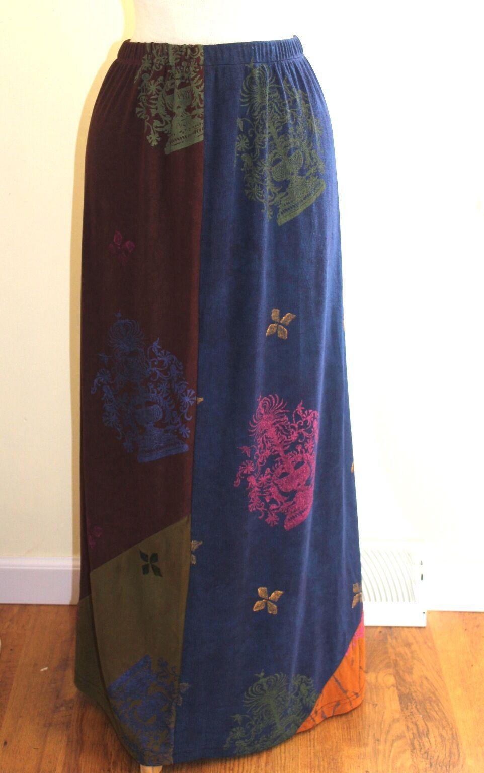 JG'S Mad Lab Staley Gretzinger bluee Brown Green Art Hand Painted Knit Skirt Sz L