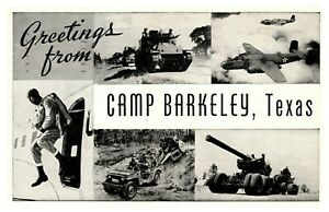 1944 WII Greetings From Camp Barkeley Texas Military Army Postcard B147