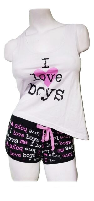 Women's Cute Pajamas 2 Piece PJ Set Tank Top Shorts Bottoms I Love Boys - White