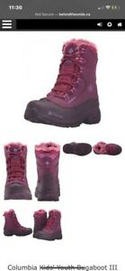 Columbia Kids Snow Bugaboot III Red Plum/Northern Lights YOUTH size 4 GREAT Con