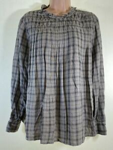 BNWOT NEXT beige check smock long sleeve blouse top size 12