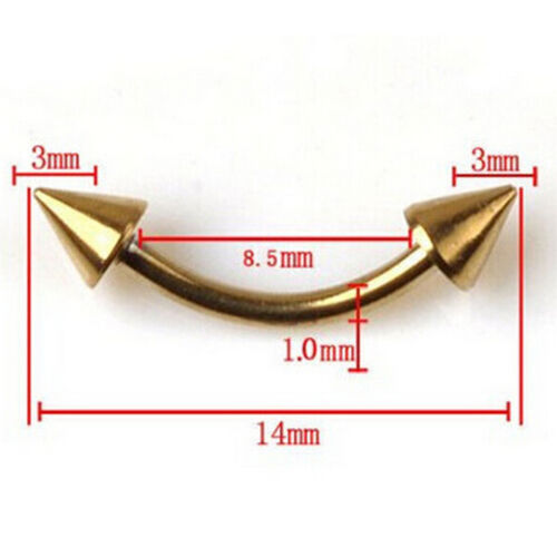 Stainless Steel Spike Curved Ear Stud Eyebrow Ring Body Piercing Jewelry##