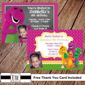 Barney and friends printable photo birthday party invitation barney image is loading barney and friends printable photo birthday party invitation stopboris Gallery