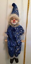 Porcelain CLOWN STRING DOLL in Blue and Silver Outfit ON SWING HANGING  28""