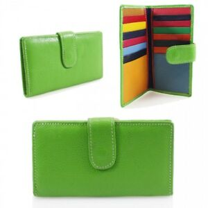 Girls CH2525 Leather Multi Coloured Slots Business Credit Card Holder Purse