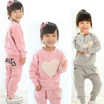 US 2PCS Kid Baby Girl Clothes Outfits Cotton T-shirt Tops Tracksuit Pants Set
