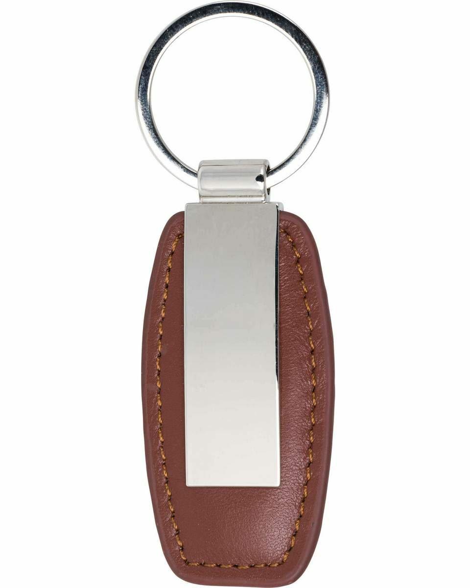 David Van Hagen Mens Leather Keyring - Brown/Silver