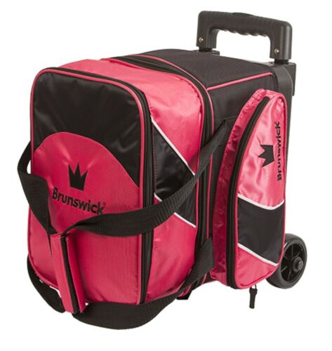 Brunswick EDGE 1 Ball Single Roller Bowling Bag w// Wheels Pink