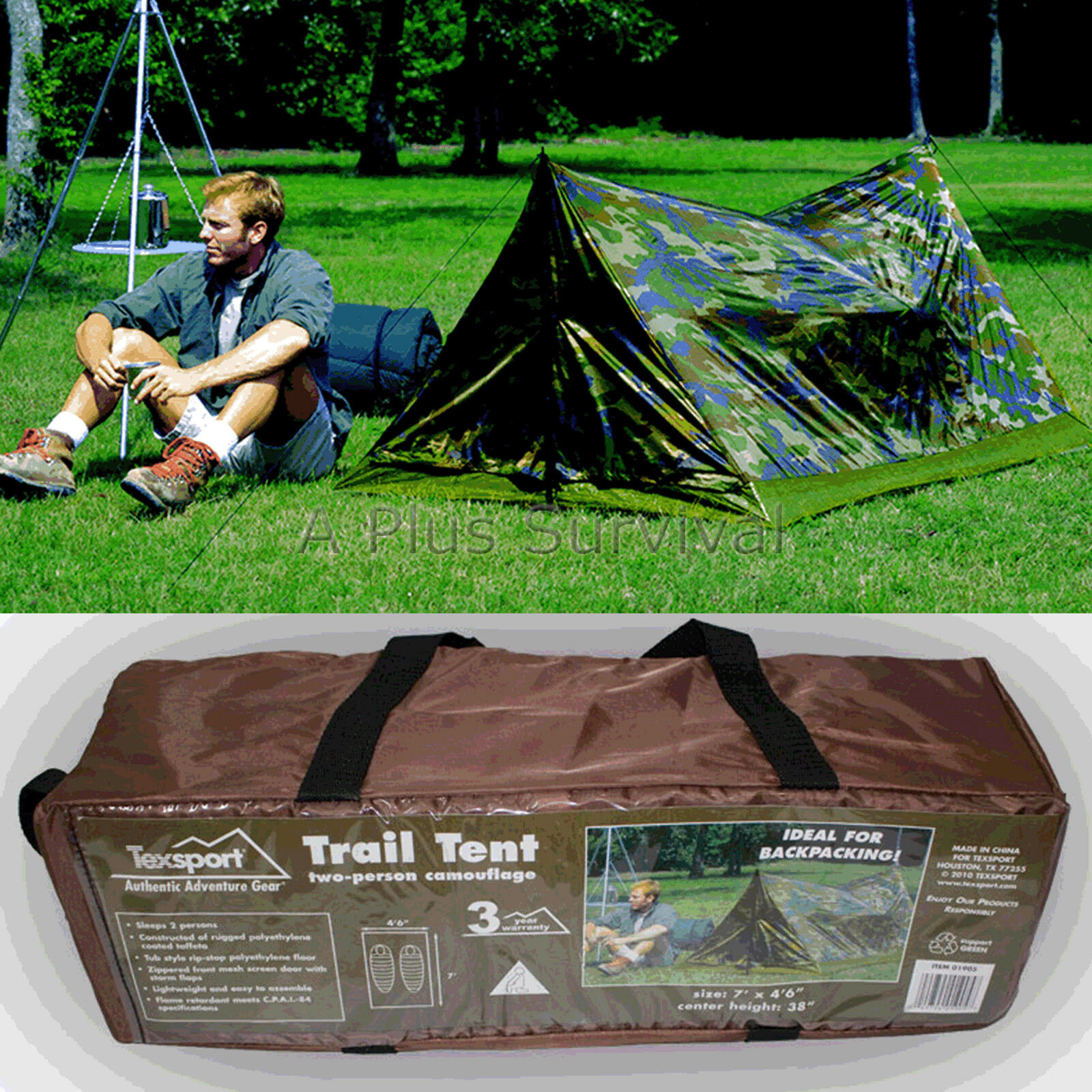 Texsport Lightweight Camouflage 2 Person Trail Tent