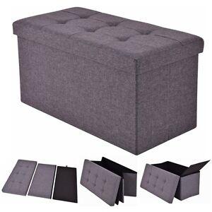 Dark Gray Folding Rect Ottoman Bench Storage Stool Box